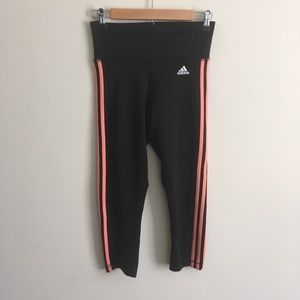 Adidas | Black Striped Climalite Capri Leggings S